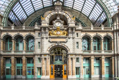 Majestic wall with clock of Central Station of Antwerp