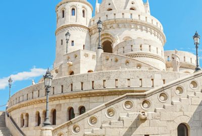Towers of Fisherman's Bastion against the blue sky in Budapest
