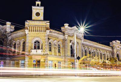 Chisinau Town Hall illuminated at night