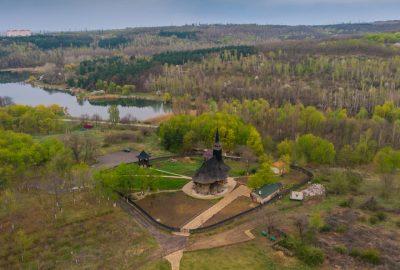 Wooden Church near Chisinau from a birds eye view