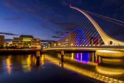Samuel Beckett Bridge in Dublin with night illumination
