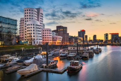 Medienhafen area in Dusseldorf by sunset
