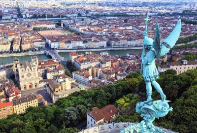 View at the city from the top of Notre Dame de Fourviere Lyon
