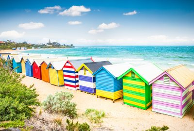 Colourful beach bathing boxes at Brightone beach in Melbourne