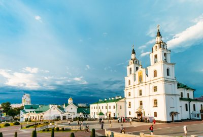 Two-towered Orthodox Holy Spirit Cathedral in Minsk
