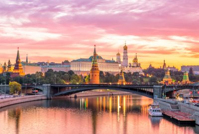 Sunset view of the towers of the Moscow Kremlin from the Moscow River