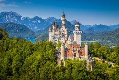 Neuschwanstein Castle situated in mountains near Munich