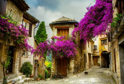 Yellow house wreathed with bougainvillea in village close to Nice
