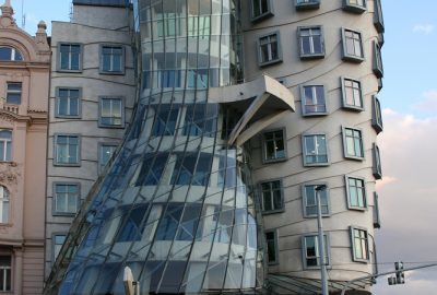 The Dancing House in Prague, designed in deconstructionist style and also nicknamed Fred and Ginger