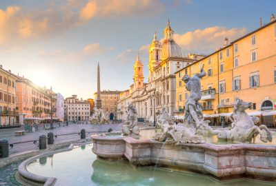 Neptune Fountain in Piazza Navona in Rome