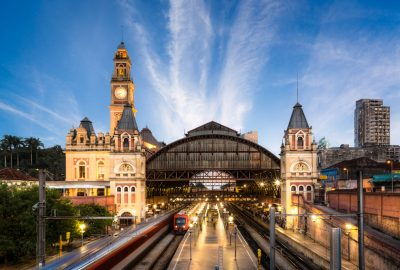 Illuminated Luz Station in Sao Paolo at the evening