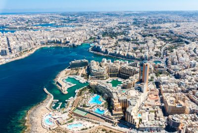 Arial view at St. Julians and Sliema in Malta
