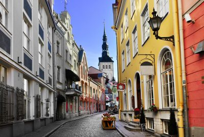 Cobbled streets in the Medieval Old Town of Tallinn