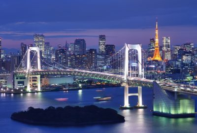 Raibow Bridge in Tokyo with night illuminating