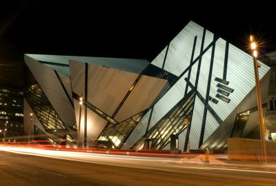 Modern building of Royal Ontario Museum in Toronto by night