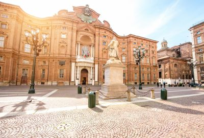 Carignano square with facade of the Carignano palace in Turin