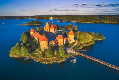 Aerial view of Trakai Island Castle