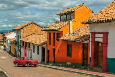 Brightly coloured houses in La Candelaria, Bogota