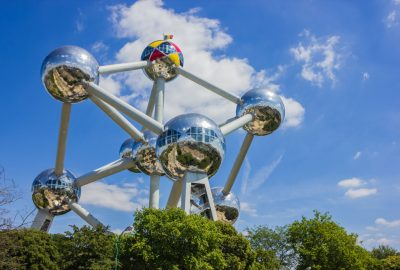 Atomium in Brussels shining in the sunlight