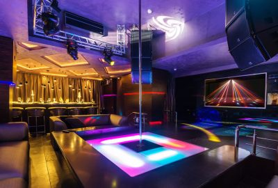 Interiors of striptease club in Dusseldorf