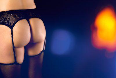 Girl in balck lingerie and stockings in Frankfurt striptease club