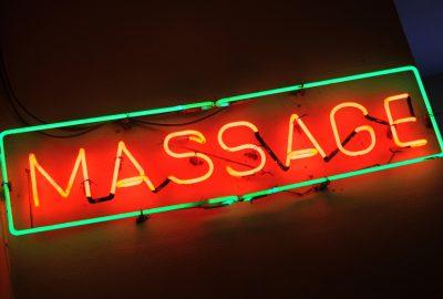 Neon light advertising of massage salon in Kuala Lumpur
