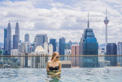 High class escort in rooftop swimming pool in Kuala Lumpur