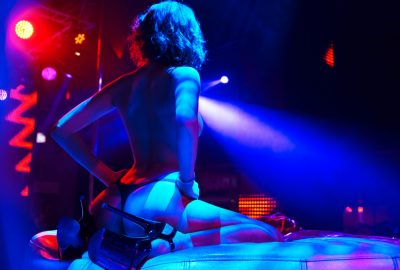 French stripper on stage of Lyon striptease club