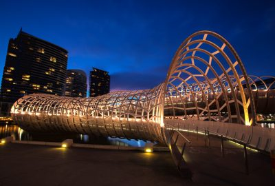 Webb Bridge in Melbourne`s Dockland area by night