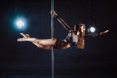 Pole dancer floating in the air in Milan strip club