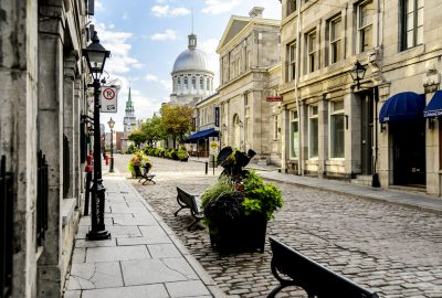 One of the main streets in Old Town of Montreal