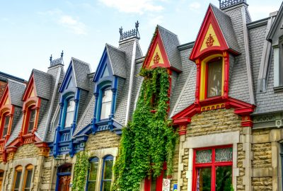 Colorful Victorian-style houses in Montreal