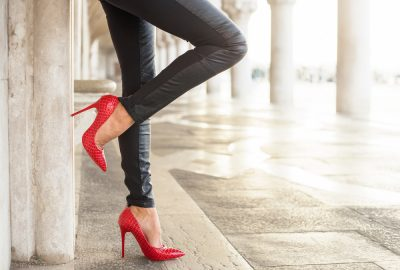 Street hooker on sexy red high heels in Nicosia