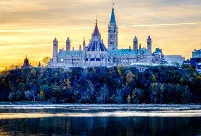 The buildings of the Canadian Parliament on Parliament Hill in Ottawa at sunset
