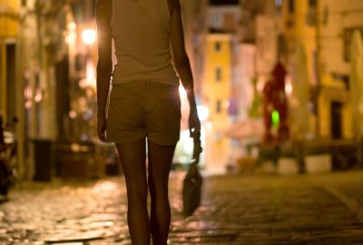 Street prostitute in Thessaloniki strolling the streets at night