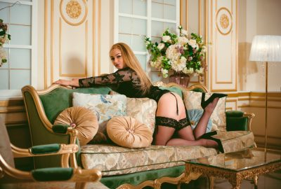 Sexy girl on sofa in Vienna brothel