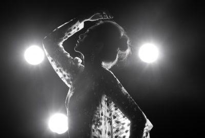 Silhouette of dancer in Thai striptease club