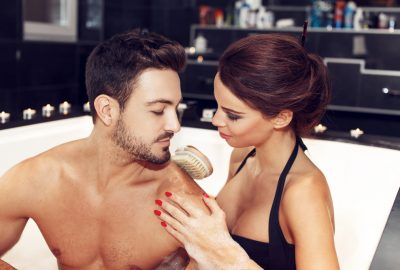 Couple in Jacuzzi of erotic massage salon in Barcelona