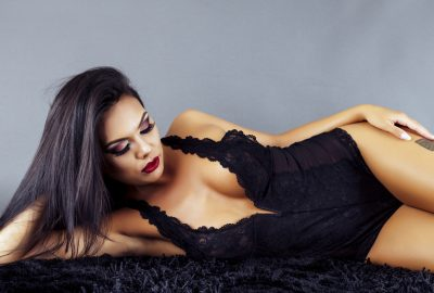 Latin escort from Barcelona dressed in black lace