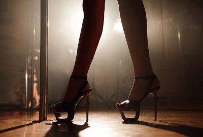 Pole dancer rehearsing in Bratislava striptease club