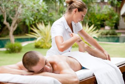 Massage in the garden of a Marbella massage parlour