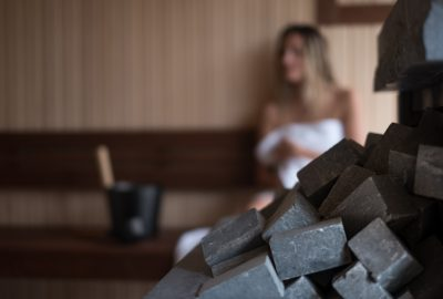 Blonde Belarusian girl in cabine of sauna in Minsk