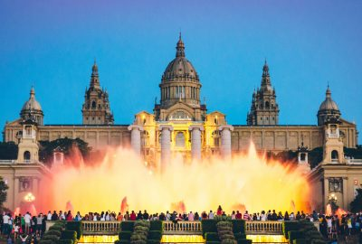Magic Fountain of Montjuic in front of the Palau Nacional in Barcelona by night