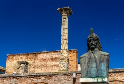 Curtea Veche (the Old Princely Court) with the bust of Vlad Tepes in centre of Bucharest