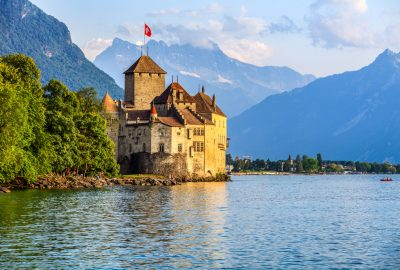 Chillon Castle on a rock at Lake Geneva