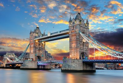 Tower Bridge in London overspanning the Thames during sunset
