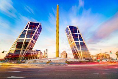 Plaza de Castilla with the twin towers Torres KIO and the golden obelisk Obelisco de Caja Madrid
