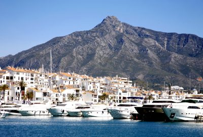 The marina of Puerto-Banús in Marbella with La Concha mountain at the backdrop