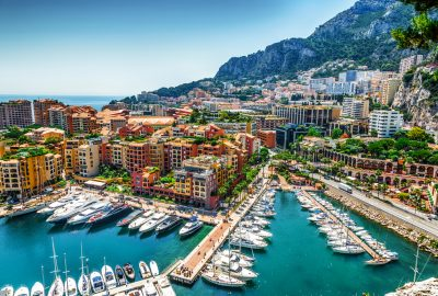 View of Monte Carlo and luxury yachts in Port Hercules in La Condamine quarter of Monaco