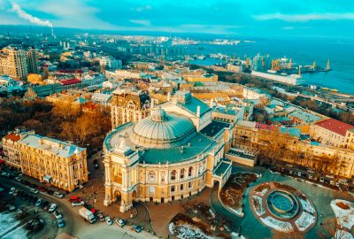 Bird's eye view of the Odessa National Academic Theatre of Opera and Ballet with Black Sea at the background